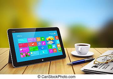 tablet, computer, met, zaak heeft bezwaar, op, wooden table, buitenshuis