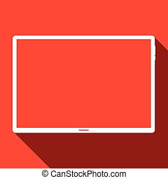 Tablet computer on red background, vector icon