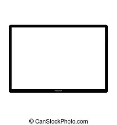Tablet computer on white background, vector icon
