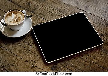 tablet, computer, op, houten, achtergrond
