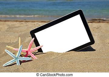 tablet, computer, op, zandig strand
