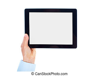 Tablet computer. - Hands with tablet computer. Isolated on...