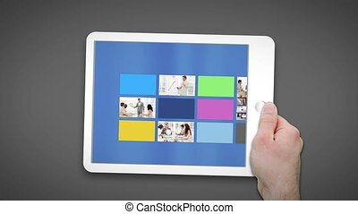 Tablet computer presenting business