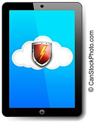 Tablet Computer Protection Red Shield on Cloud with Lightning Bolt Safeguard Icon, Symbol