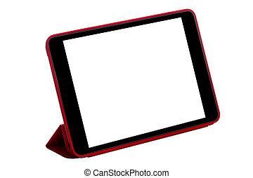 Tablet computer - Red tablet computer (tablet pc) on white...