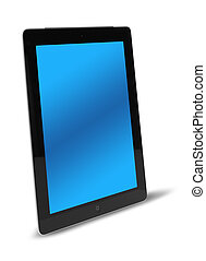 Tablet computer side view isolated
