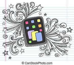 Tablet Computer Sketchy Doodle - Tablet Computer Pad...