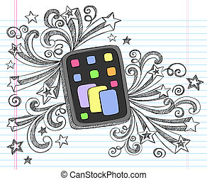 Tablet Computer Pad Hand-Drawn Sketchy Notebook Doodles with Swirls and Shooting Stars- Vector Illustration Design Elements on Lined Sketchbook Paper Background