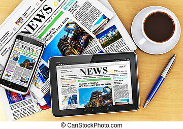 Creative business corporate work concept: tablet computer PC, modern black glossy touchscreen smartphone with news internet web site, stack of newspapers, cup or mug of fresh coffee and metal ballpoint pen on wooden office table Design is totally my own and all text labels are fully abstract