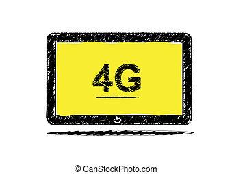 Tablet computer with 4G sketch design