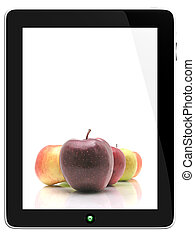 Tablet Computer With Apples on screen