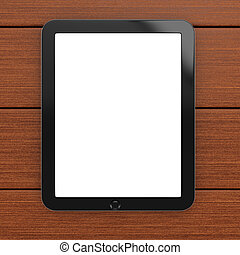 Tablet computer with blank screen on wooden background