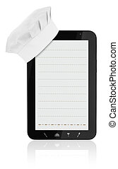 Tablet computer with chef hat and food icons