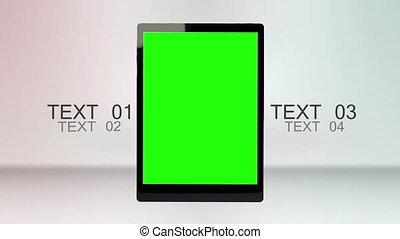 Tablet computer with chroma key scr