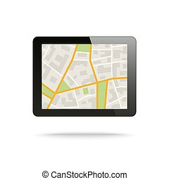 Tablet computer with City Map