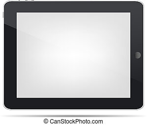 Tablet Computer With Gradient Mesh, Isolated On White Background, Vector Illustration