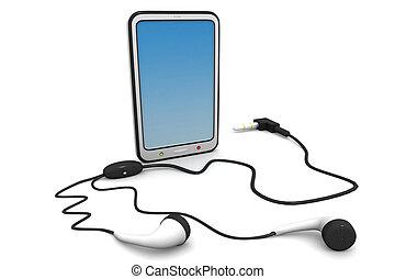 tablet computer with  headphones
