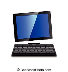 Tablet computer with keyboard isolated vector
