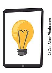 Tablet computer with lightbulb vector cartoon.