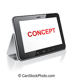 tablet computer with text concept on display