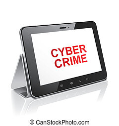 tablet computer with text cyber crime on display