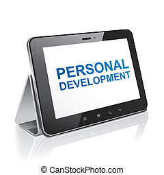 tablet computer with text personal development on display over white