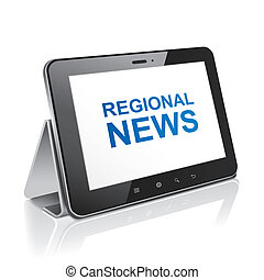 tablet computer with text regional news