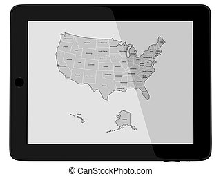 Tablet Computer with USA America map