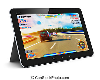 Tablet computer with video game - Creative abstract computer...
