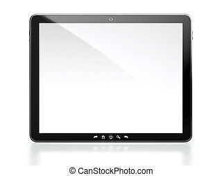 Tablet computer with white blank screen isolated on white...