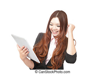Tablet computer woman looking excited at touchpad pc screen