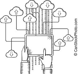 Tablet connected to cloud data storage