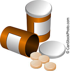Tablet containers - Open and closed medicine containers with...