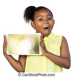tablet., czysta twarz, dzierżawa, afrykanin, wyrażenie, zdziwiony, koźlę
