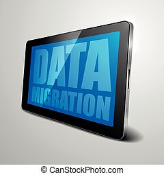 Tablet Data Migration - detailed illustration of a tablet...