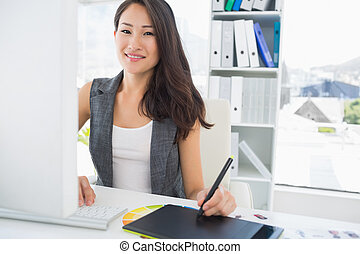 tablet, de redacteur van de foto, vrouwlijk, grafiek,...