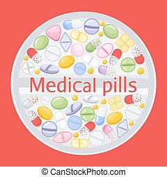 Tablet design of different colorful pills.Medicine painkiller pills, pharmaceutical antibiotics drugs vector. Set of color pills, illustration of antibiotic and vitamin pill. vector illustration