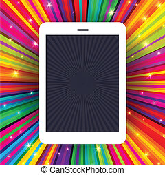 Tablet device on colorful rays background. Conceptual illustration, vector, EPS10