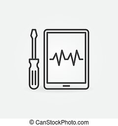 Tablet Device Repair with Screwdriver vector outline icon