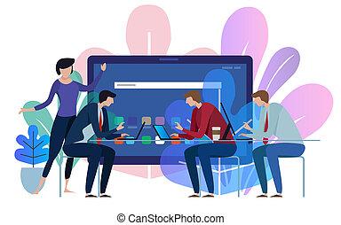 Tablet device screen. Business team working talking together at big conference desk. Illustration on white background.
