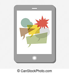 Tablet device with many speech bubbles. Vector