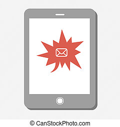 Tablet device with many urgent mail. Vector