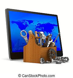 tablet, dienst, beeld, vrijstaand, achtergrond., witte , 3d