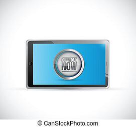 tablet download now button illustration design