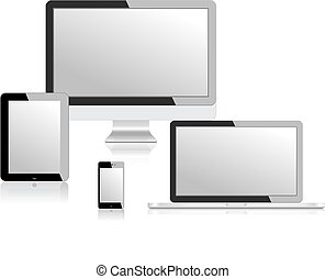 tablet, draagbare computer, telefoon, monitor, vector, illustratie