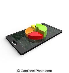 tablet, eenvoudig, scherm, cirkeldiagram, diagram, pc, 3d
