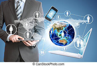 tablet., elektronik, mann, besitz, erde