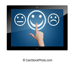 Tablet Computer with feedback rating buttons