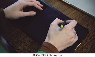 tablet., femme, graphique, fonctionnement, mains