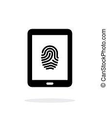 Tablet fingerprint icon on white background.